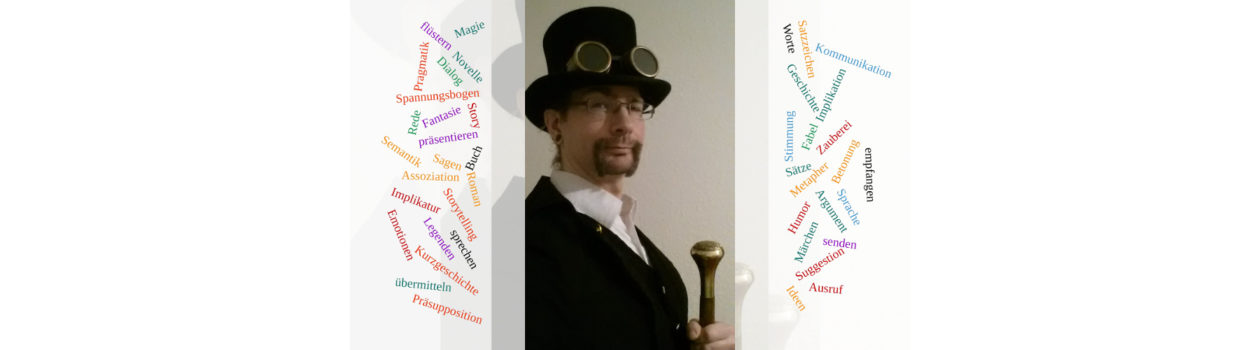 Zauberer mit Wortwolke